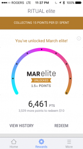 Ritual elite status earns points 1.5 times faster!