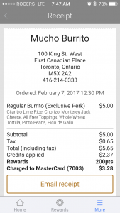 Mucho Burrito receipt