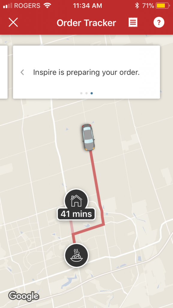 Order confirmation is received with a visual of the driver location and estimated time