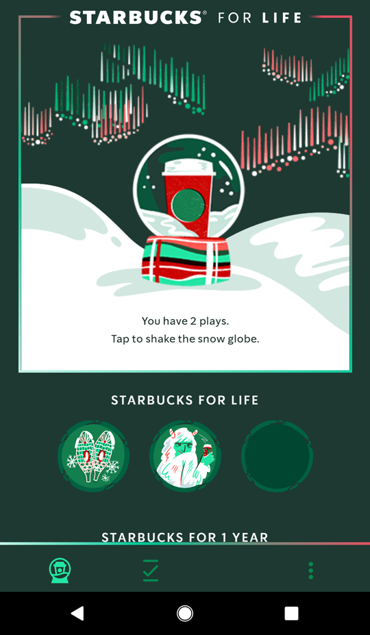 Starbucks for Life tokens page