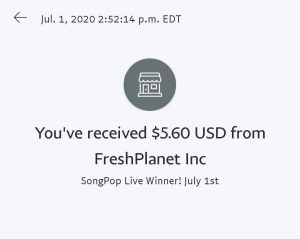 PayPal payout from SongPop Live