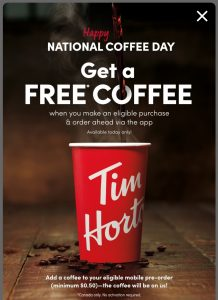 National Coffee Day freebie