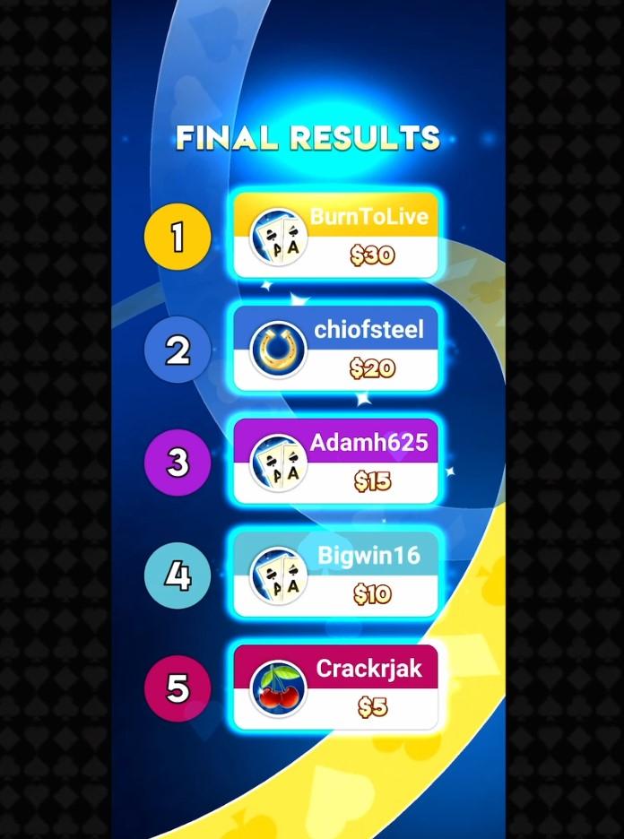 Cash Live final results winnings